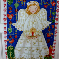 Hand quilted Angel on Blue Background Advent Calendar