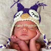 GORGEOUS CROCHETED SLEEPY OWL EARFLAP  BABY HAT (12-24 Months) PHOTO PROP
