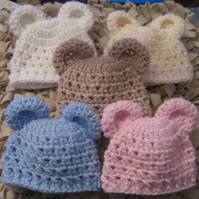 ADORABLE CROCHET BABY BEAR EARS BEANIE HAT ( 0-3 Months, ) Newborn Photo Prop