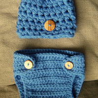 Chunky Baby Beanie Crochet Hat with button and matching nappy DIAPER cover 0-3m