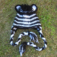 FABULOUS STRIPEY ZEBRA BABY EARFLAP CROCHET HAT ( NEWBORN 0-3 Months) PHOTO PROP