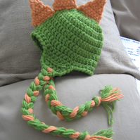 GRREEAT CROCHETED DINOSAUR EARFLAP  BABY HAT ( 0-3 Months) PHOTO PROP