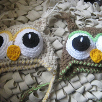 GORGEOUS CROCHETED BRIGHT EYES OWL BABY HAT ( 0-3 Months) PHOTO PROP