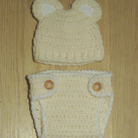 CROCHET BABY BEAR EARS BEANIE HAT & NAPPY DIAPER COVER 0-3 Months  more colours