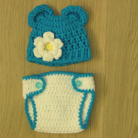 CROCHET BABY BEAR EARS BEANIE HAT WITH FLOWER & NAPPY COVER ( 0-3 M ) PHOTO PROP
