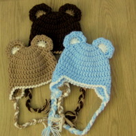 ADORABLE BEAR EARS Baby Earflap Crochet Hat , Photo Prop  0 - 3 months