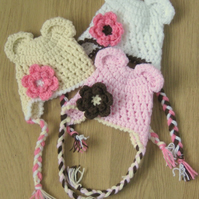 ADORABLE BEAR EARS Baby Earflap Crochet Hat With Flower , Photo Prop 0-3 months