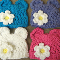 CUTE HAND CROCHET BABY BEAR EARS BEANIE HAT WITH FLOWER ( 0-3 Months) PHOTO PROP