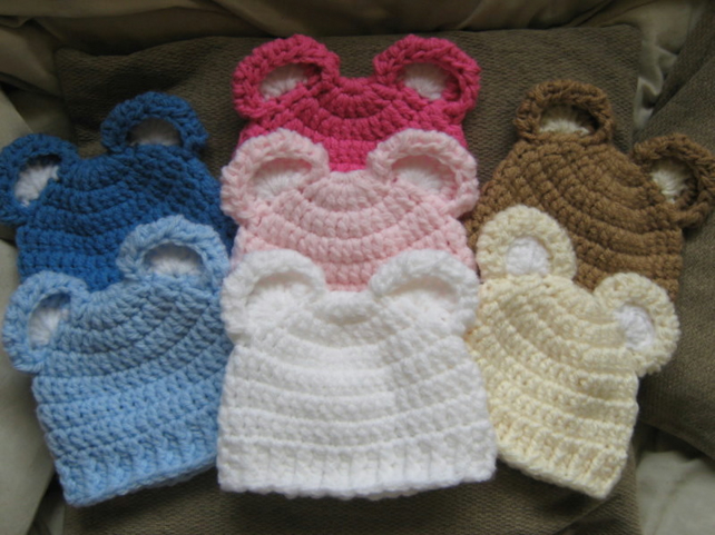 ADORABLE CROCHET BABY BEAR EARS BEANIE HAT ( Ne... - Folksy
