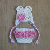 BEAR Ears Baby Earflap Crochet Hat Flower & Frilly DIAPER COVER Photo Prop 0-3m
