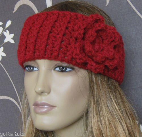 LOVELY CROCHETED FASHION WIDE HEADBAND SKI EAR WARMER HAT WITH FLOWER