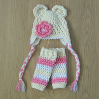 BEAR Ears Baby EARFLAP Crochet Hat with matching LEGWARMERS , Photo Prop 0 - 3m