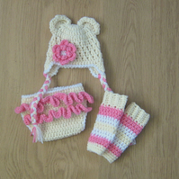BEAR Baby Crochet Hat & Flower, Nappy DIAPER COVER & Legwarmers, Photo prop 0-3m
