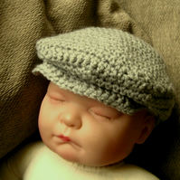Cute BOYS DRIVERS CAP Baby Crochet Hat , Photo Prop ( 0 - 6 months, more sizes )