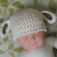 Cute LITTLE LAMB Ears Baby Crochet Beanie Hat , Photo Prop (  0-3 months )