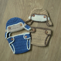 AVIATOR BOMBER Baby Earflap Crocheted Hat & Nappy Diaper Cover , Photo Prop 0-3m
