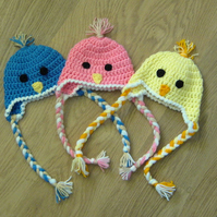 Cute BIRD CHICK Baby Earflap Crochet HAT , Photo Prop  0-3 months more sizes too