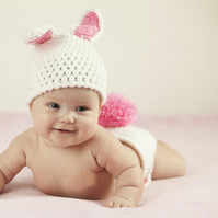 Cute BUNNY Ears Baby Crochet Beanie Hat and NAPPY COVER , PHOTO PROP  0-3 months