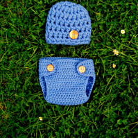 Extra Chunky BUTTON Baby BEANIE HAT & nappy DIAPER Cover , Photo Prop 0-3 months