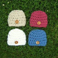 Cute Extra Chunky Wooden BUTTON Baby BEANIE Crochet HAT , Photo Prop 0-3 months