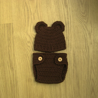 Adorable BEAR Ears Baby Beanie Hat and DIAPER Nappy COVER, 3-6 months
