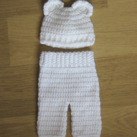 Cute Crocheted Bear Ears BEANIE Baby Hat and PANTS Trousers, 0-3 months