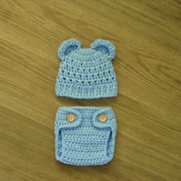 Cute Patterned BEAR Ears BEANIE Baby Hat and DIAPER Nappy COVER, 0-3 months
