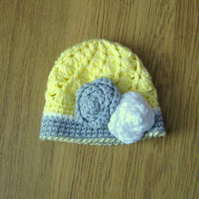 Pretty Vintage Swirl baby BEANIE Crochet HAT & flowers,   Photo Prop 0-3 months