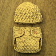 Cute Baby Crochet TEXTURED BEANIE & DIAPER Nappy cover 0-3 months Custom colours
