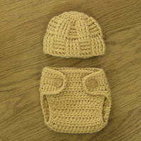 Cute Baby Crochet WOVEN BEANIE & DIAPER Nappy cover 0-3 months Custom colours
