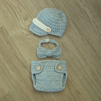 Cute Little Man Crochet NEWSBOY Cap Newscap , BOWTIE & Nappy DIAPER Cover, 0-3m