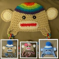 FAB CROCHET SOCK MONKEY EARFLAP BABY HAT ( 0-3 m )  more sizes and colours too!
