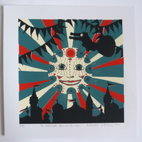 Original Circus screen print 'The Tattercock Flew Over The Moon'