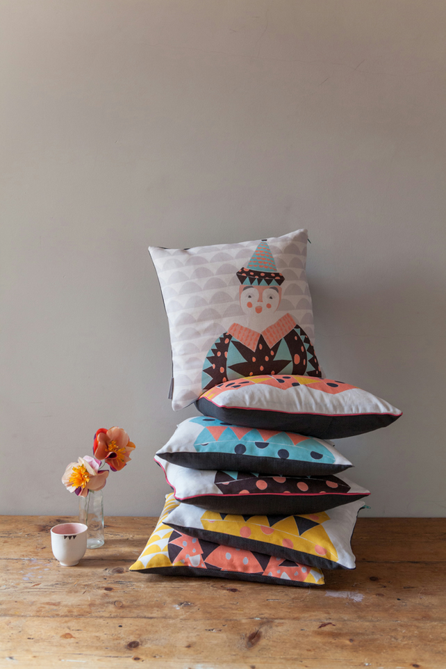 Jack the Clown Cushion Cover in muted brights and pebble grey - free postage