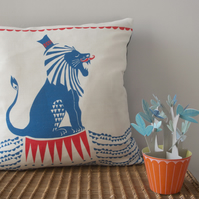 Ferris the Circus Lion Cushion - in red, white and blue - free UK postage