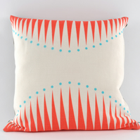 Screen printed Cushion - Circus Triangles in Coral - free postage