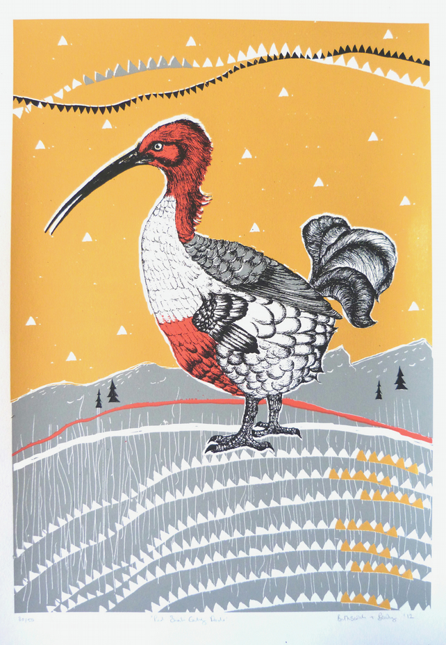 The Red Snail-Eating Dodo - original screen print