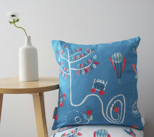 Bumble Bee Balloon cushion - in sky blue - free postage