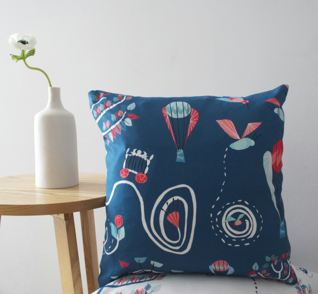 Bumble Bee Balloon cushion cover - in deep, dark blue - free delivery
