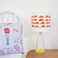 FLASH SALE! Handmade Sunshine Dip Porcelain Light with Coral Clouds Lamp Shade