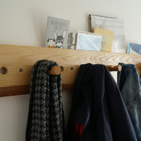 oak wood coat rack storage unit for hallways or utility rooms