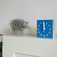 deep blue wooden handmade blockclock free delivery ideal gift for Valentines day