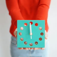 Teal coloured wooden square clock handmade gift with free delivery
