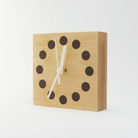 English Beech wood & inlaid walnut clock great house warming gift, free delivery