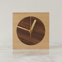 English beech and inlaid Walnut wood minimalist blockclock with free delivery