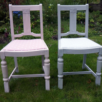 Pair of refurbished painted shabby chic grey pink chairs with polkadot fabric