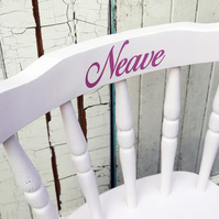 Child's personalised vintage wooden chair with name upcycled and made to order