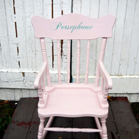 Child's vintage personalised name rocking chair made to order