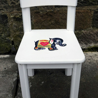 Child's toddler chair painted in Fusion Mineral Paint Casement with elephant