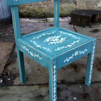 Little rustic primitive Children's chair painted in a deep green